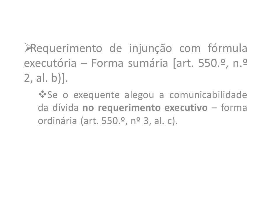 Requerimento de injunção com fórmula executória – Forma sumária [art
